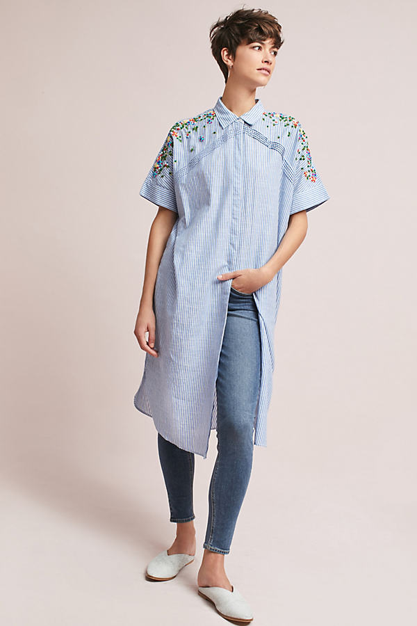 Neysa Embroidered Shirt Dress, Blue - Blue, Size Uk 14