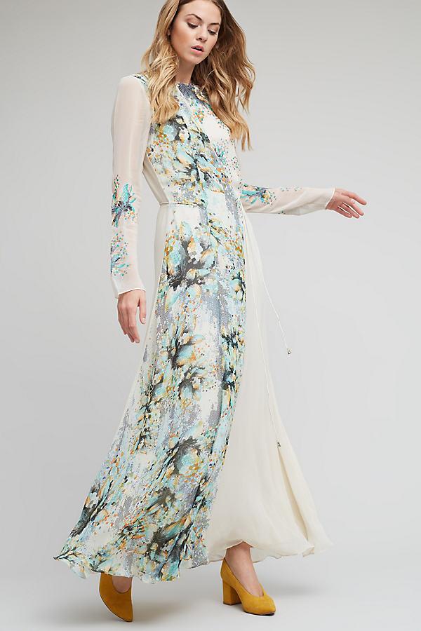 Juliet Floral Maxi Dress, Neutral - Neutral Motif, Size Uk12