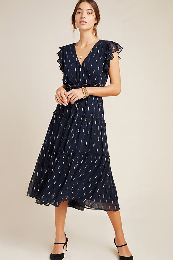 Metallic Dot-Print Midi Dress - Blue, Size S