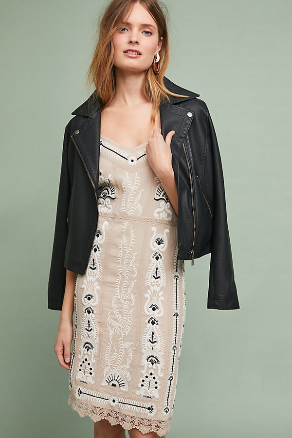 Embroidered Slip Dress - Beige