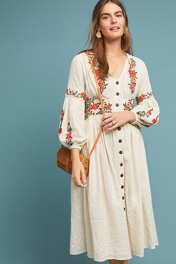 Slide View: 2: Gracie Embroidered Peasant Dress