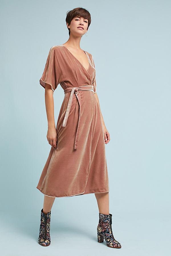 Reika Velvet Wrap Dress, Pink - Pink, Size Uk 14