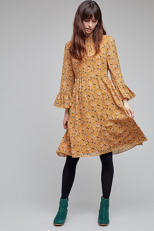 Marie Printed Ruffled Dress - Dark Yellow, Size Uk 10