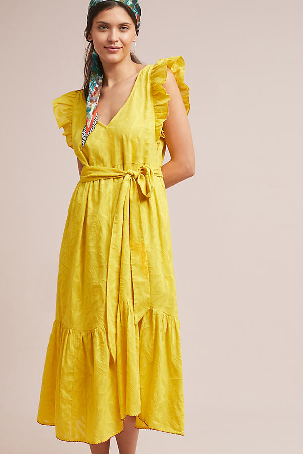 Golden Textured Dress - Yellow, Size Xs