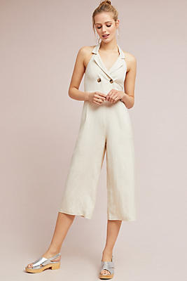 Slide View: 1: Double-Breasted Cropped Jumpsuit