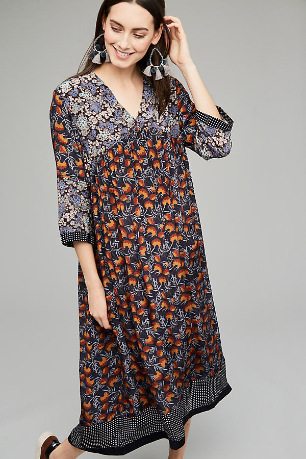 Janita Floral Peasant Dress - A/s, Size Uk 12