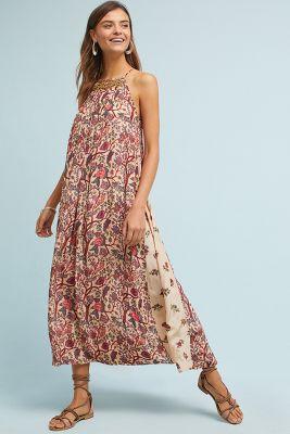 V christine chita print maxi dress