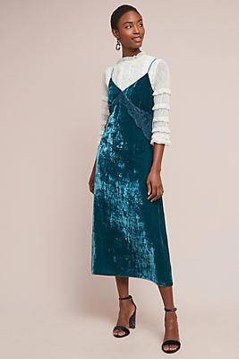 Slide View: 1: Velvet Slip Dress