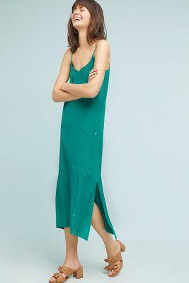 Cardinal   Handpainted Silk Slip Dress  -    KELLY
