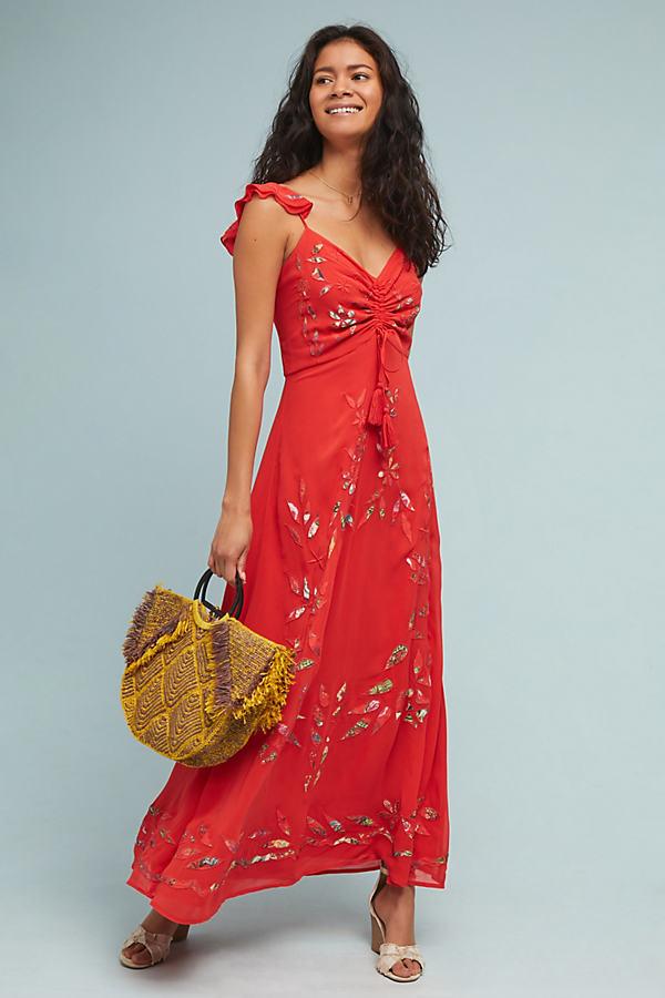 Farm Rio Quintana Maxi Dress - Red, Size Uk 14