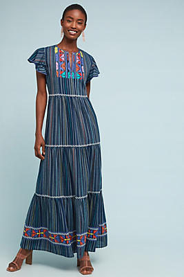 Slide View: 1: Ada Embroidered Maxi Dress