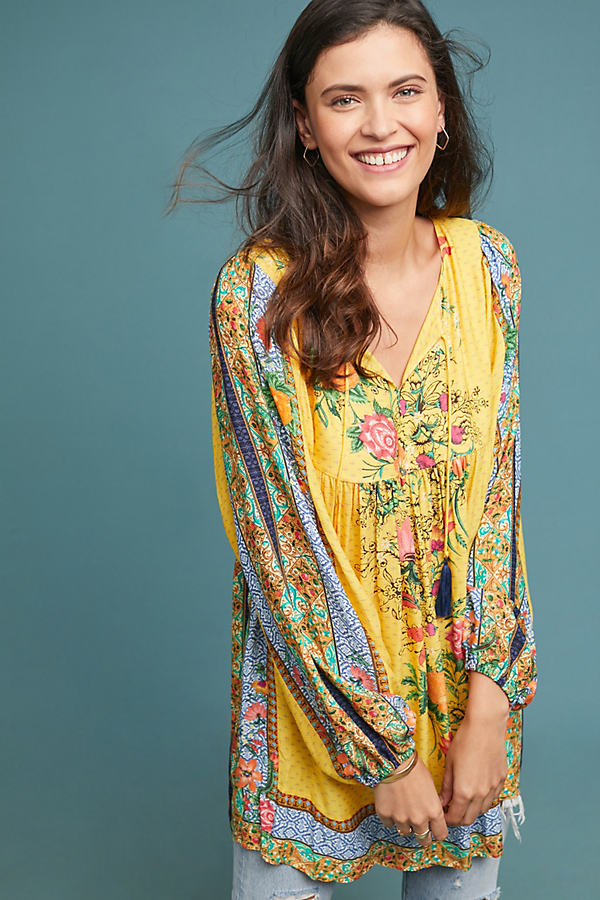 Farm Rio Lorena Patchwork Tunic Dress - Assorted, Size Xl