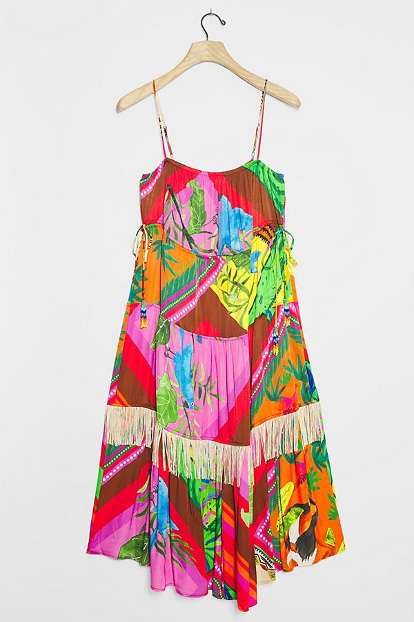 Farm Rio Palila Fringed Midi Dress