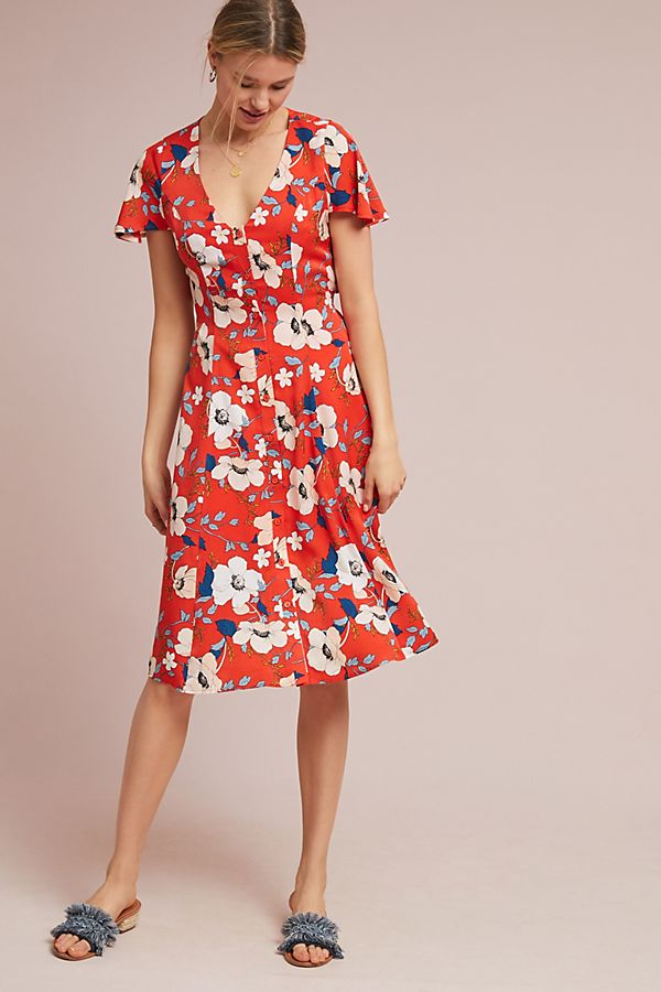 Regents Florales Midi-Kleid | Anthropologie