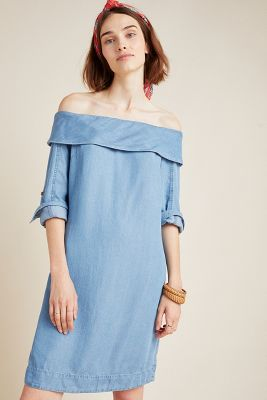 b18239432a15 Pilcro Off-The-Shoulder Chambray Dress $140