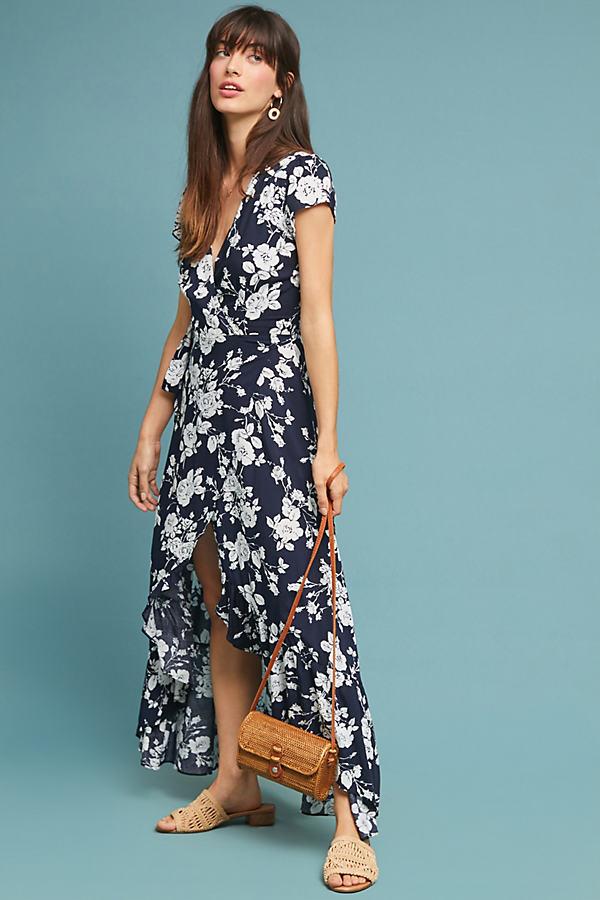 Charlotte Maxi Wrap Dress - Black, Size L