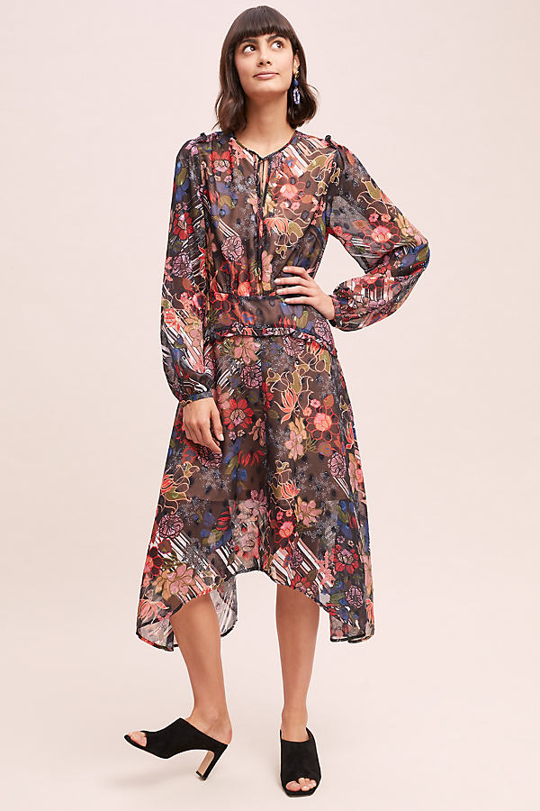 Graphic Floral Midi Dress - Assorted, Size M