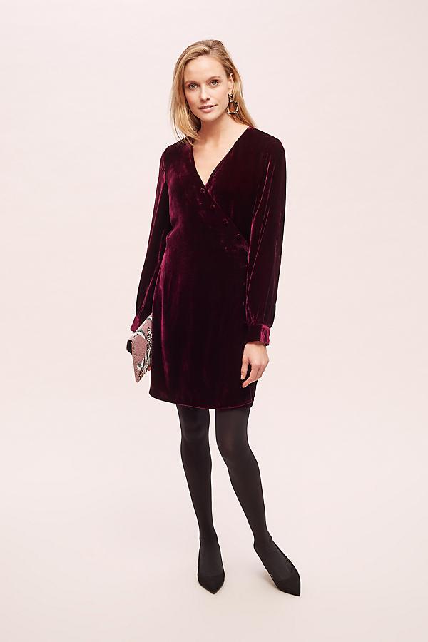 Shiloh Velvet-Wrap Dress - Purple, Size Uk 16