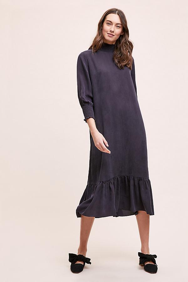 Rosla Midi Dress - Black, Size Uk 12