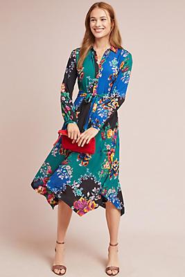 Slide View: 1: Floral Patchwork Shirtdress