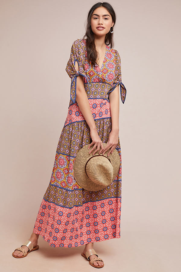 Printed-Tiered Maxi Dress - Orange, Size Uk 10