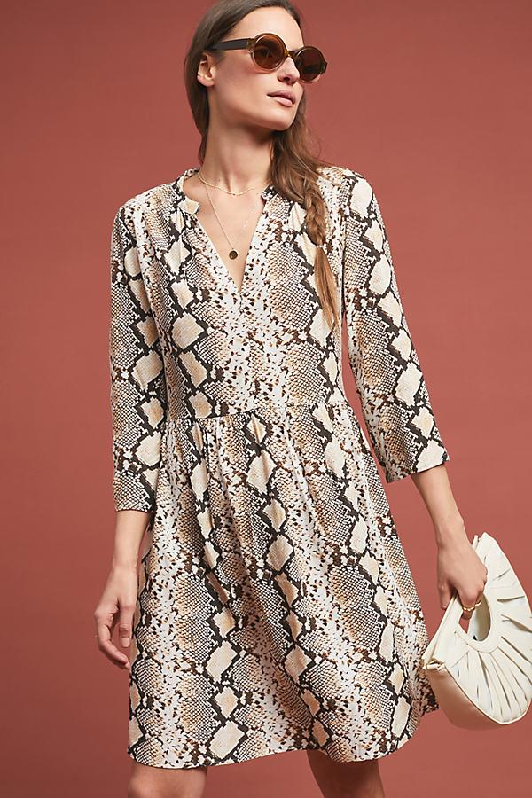 Juno Printed Dress - Beige, Size L