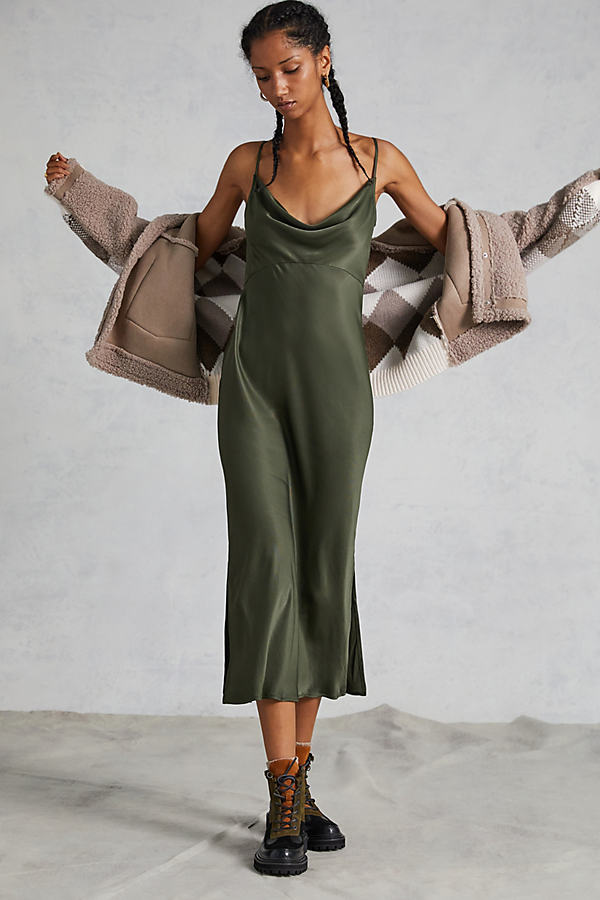 Bias Slip Dress - Green, Size L