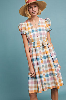 Slide View: 1: Poppy Plaid Shirtdress