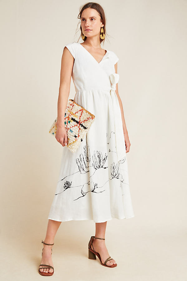 Tracy Reese Guinevere Organic-Linen Midi Dress - Assorted, Size Uk 6