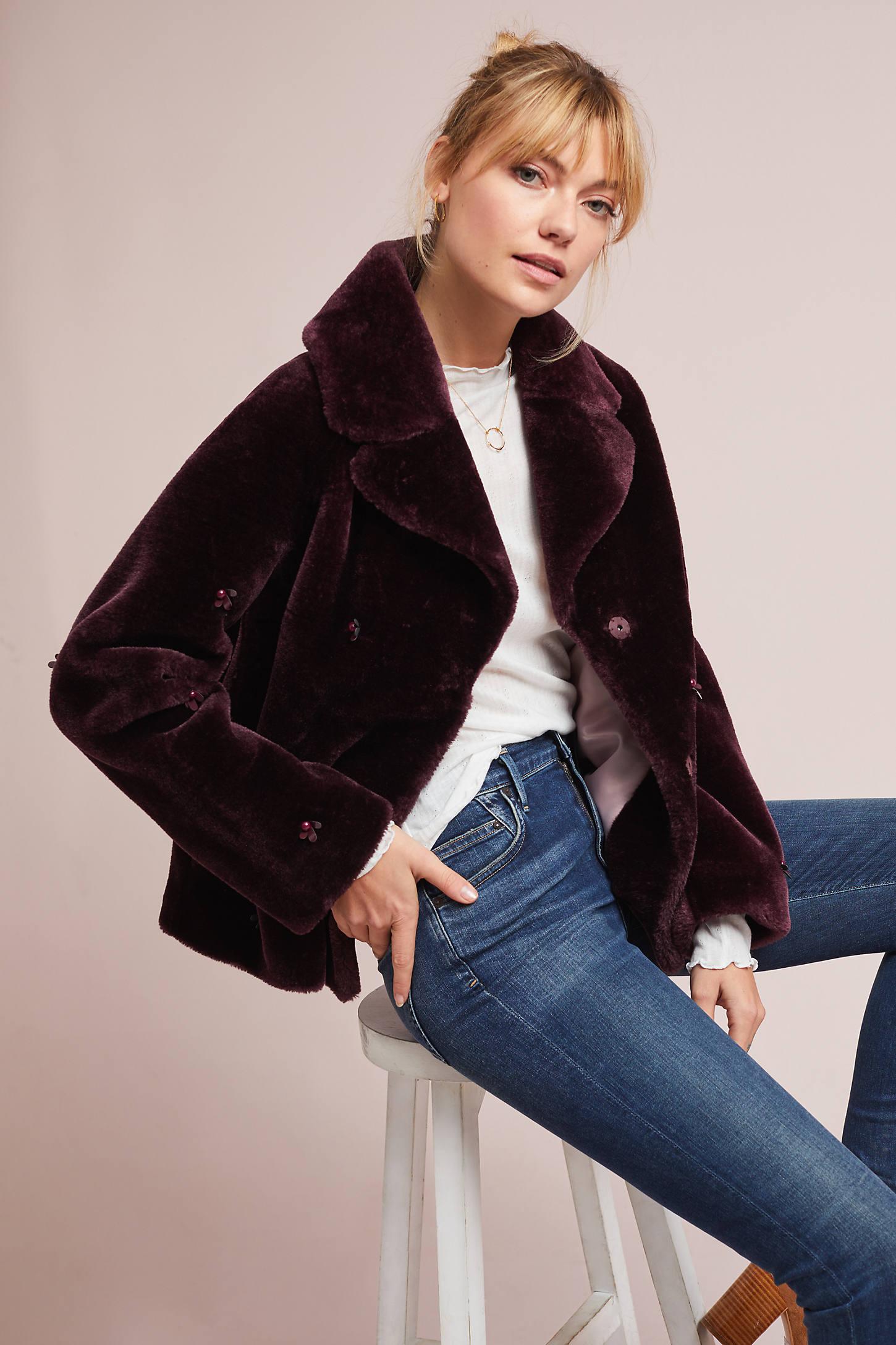 Embellished Faux Fur Coat