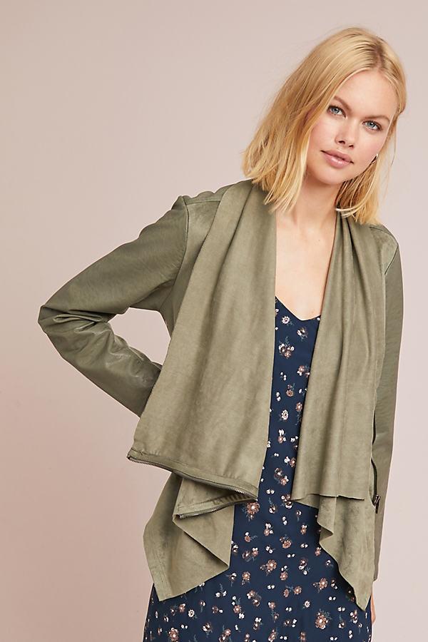 Valentina Draped Jacket - Green, Size Xs