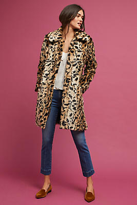 Slide View: 1: Leopard Print Coat