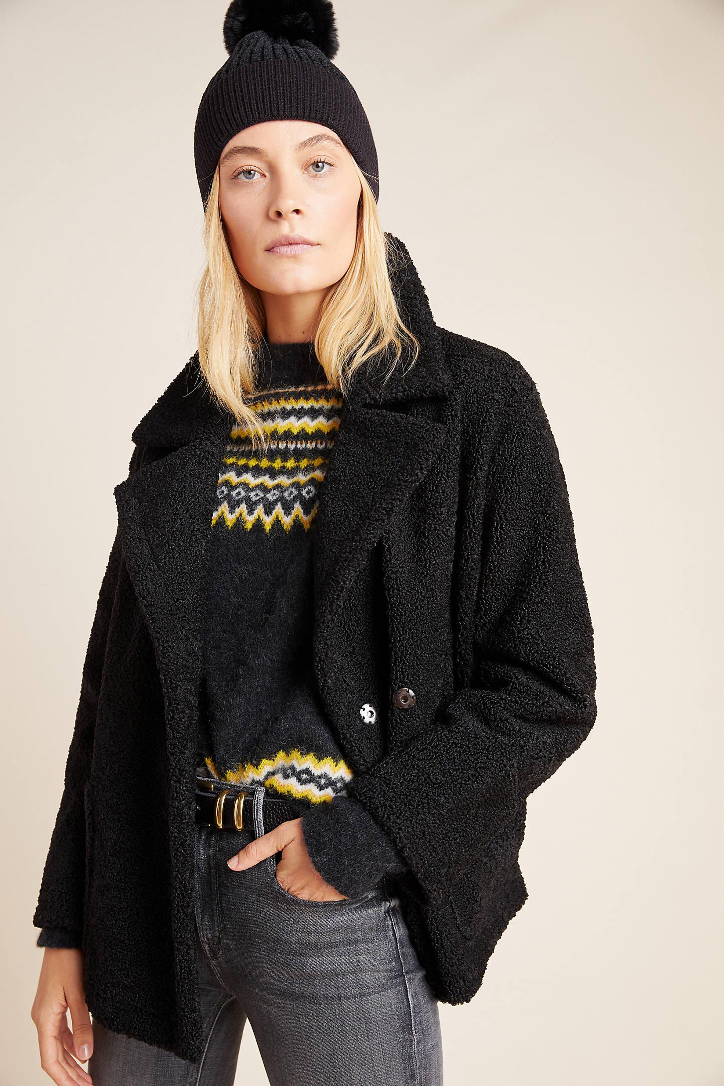 Velvet By Graham & Spencer Sherpa Jacket In Black