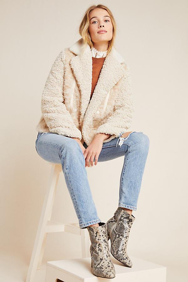 Marrakech Faux-Fur Moto Jacket - Beige, Size S