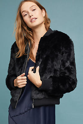 Slide View: 1: Faux Fur Bomber Jacket