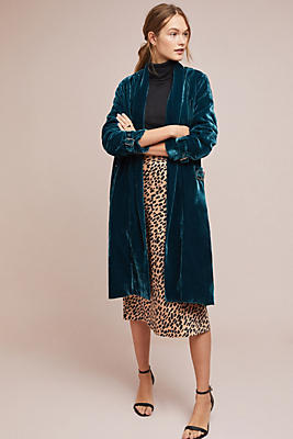 Slide View: 1: Velvet Trench Coat