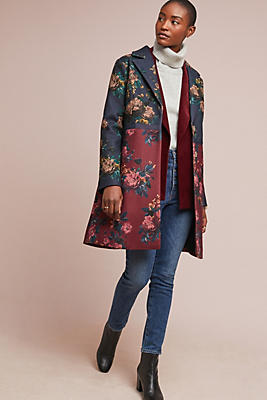 Slide View: 1: Colorblocked Floral Coat