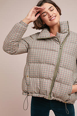 Slide View: 1: Plaid Puffer Jacket