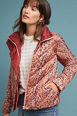 Slide View: 1: Quilted Leopard Puffer Jacket