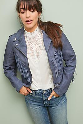 Slide View: 1: Jakett Fringed Leather Jacket