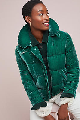 Slide View: 1: Peggy Velvet Puffer Jacket
