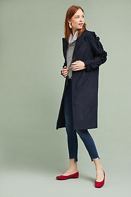 Slide View: 1: Ruffled Sleeve Coat