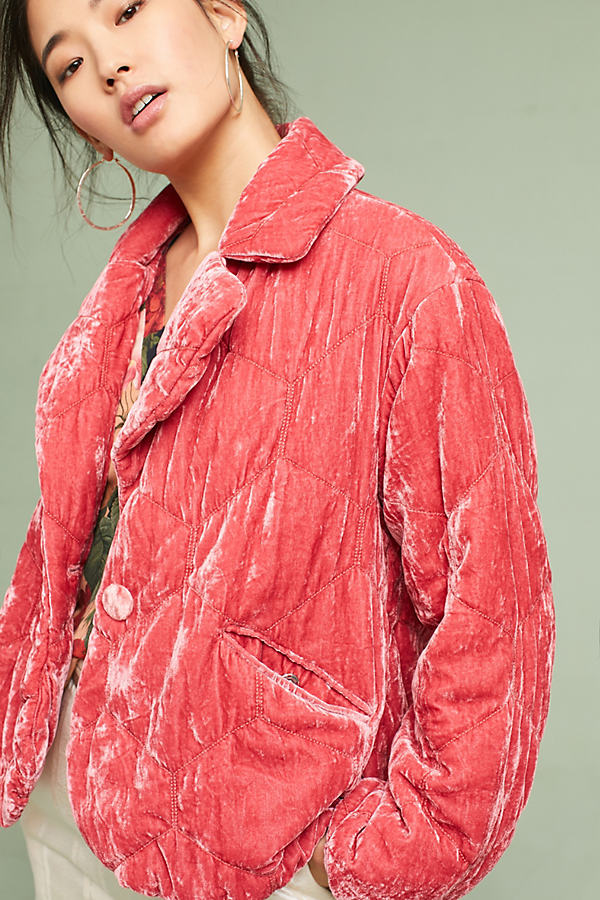 Brodie Quilted Velvet Puffer Coat - Rose, Size L