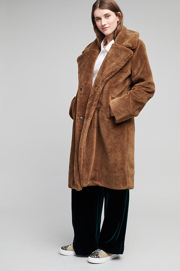Annaleigh Faux Fur Coat, Brown - Brown, Size M