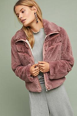 Slide View: 1: Chevron Faux Fur Coat