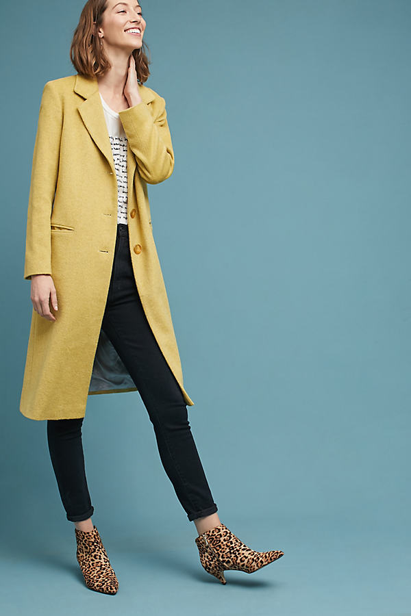 Sunshine Longline Coat - Yellow, Size Uk 10