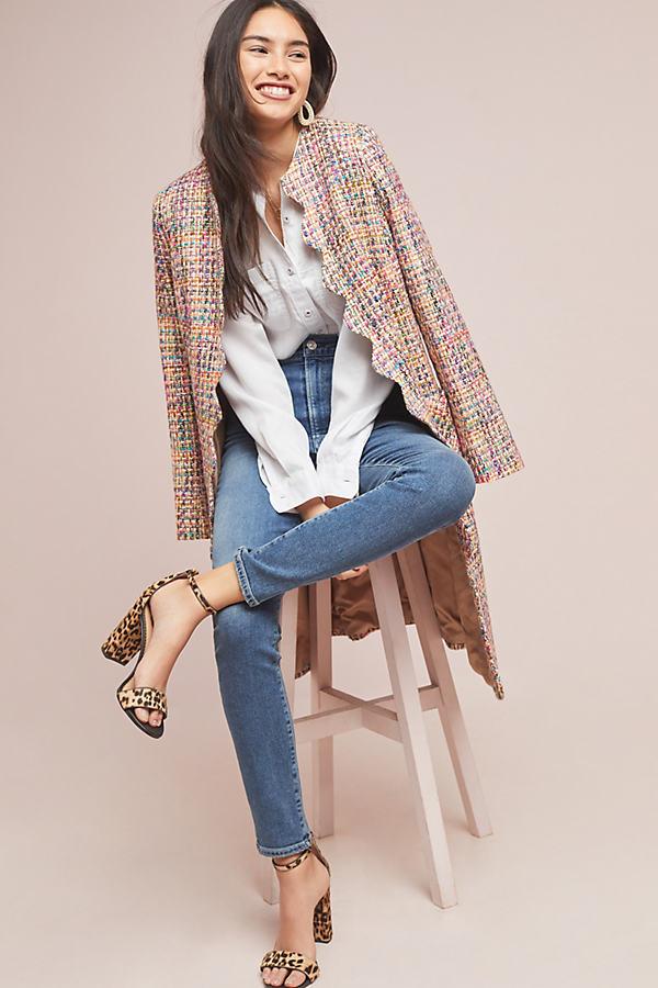 Sandra Scalloped-Edge Tweed Coat - Pink, Size Uk 16