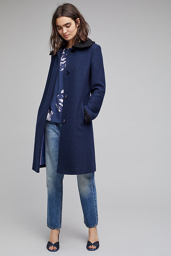 Gianna Velvet Pan Collar Coat, Navy - Navy, Size Uk12
