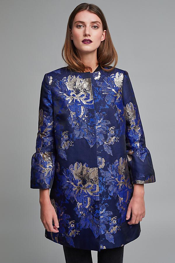 Marium Jacquard Bell Sleeve Coat - A/s, Size Uk 10