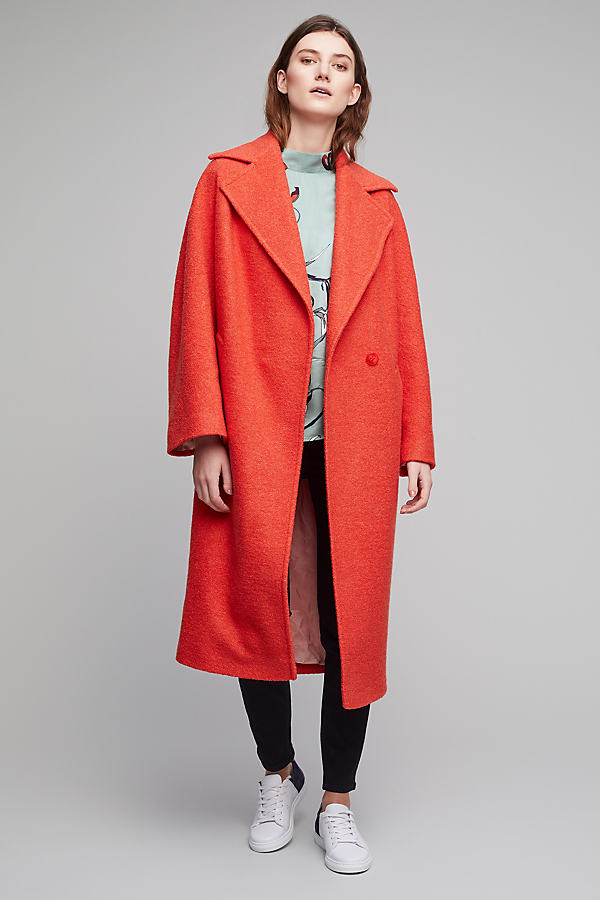 Susann Boucle Coat - Orange, Size Uk 14